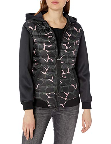 Emporio Armani Damen Neoprene Hooded Jacket Übergangsjacke, Schwarz/Grün/Pink, 72