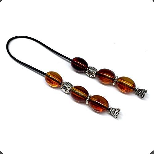 ALBATROSART Design - Greek KOMBOLOI Series- Worry Beads Begleri Pony Anxiety Beads Rosary Relaxation Stress Relief (Imitation Oval Amber Acrylic Beads -13x11 mm-)