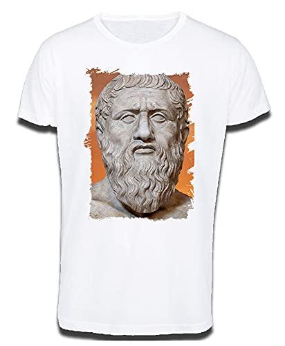 MERCHANDMANIA Camiseta Tacto ALGODÓN A3 PLATON PLATÓN FILOSOFO Historia Cotton Touch Tshirt