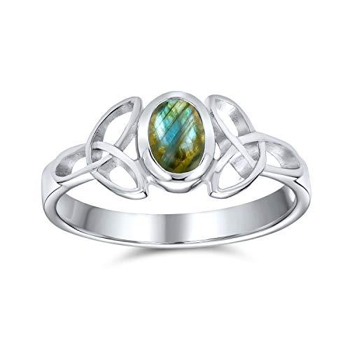 Delicado celtic Trinity nudo Triquetra anillo para las mujeres adolescentes banda delgada iridescent labradorite 925 anillo de plata de ley