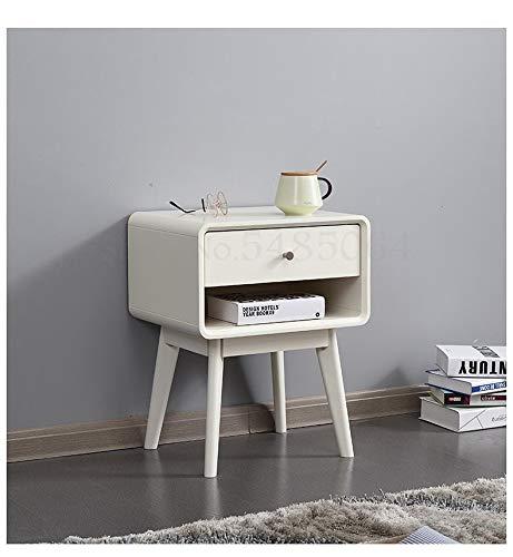 SPRINGHUA Nordic - Mesita de noche de madera maciza para dormitorio, cama de tronco, simple y...