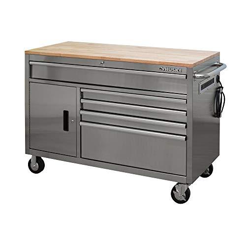 Husky 52 in. 5-Drawer 1-Door Mobile Workbench in Stainless Steel