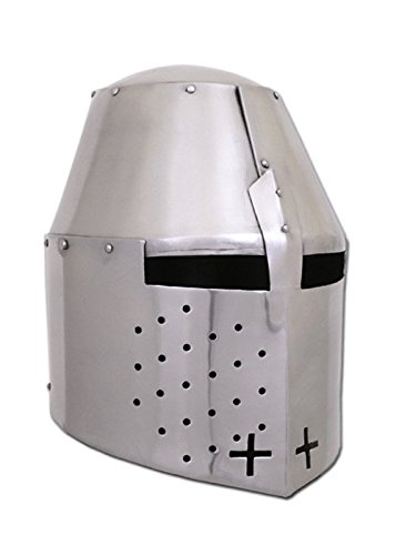 Battle-Merchant Grosser Helm Pembridge, um ca. 1370, 1,2mm Stahl - schaukampftauglich - Topfhelm - Turnierhelm - Mittelalter
