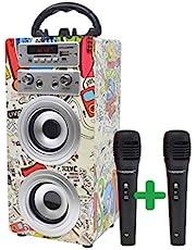 DYNASONIC (3er Gen) - Draagbare Karaoke Bluetooth-luidspreker met microfoon inbegrepen   USB en SD-lezer, FM-radio Model 025