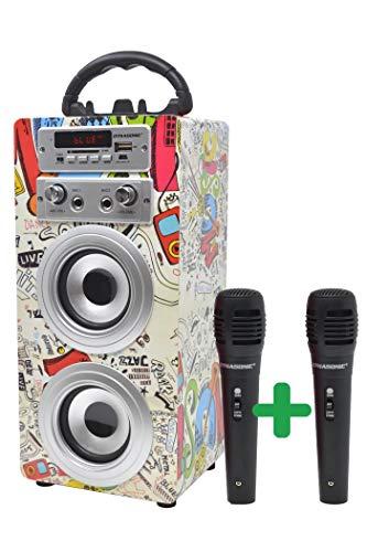 DYNASONIC - Altoparlante Bluetooth portatile per karaoke con microfoni inclusi | Lettore USB e SD, radio FM modello 025 (2 microfoni)