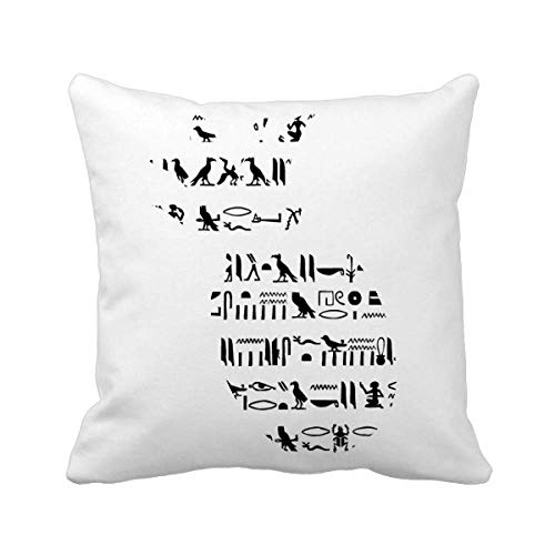 Egypt Totem Hieroglyphs Fresco Repeat Piña Manta Almohada Cuadrado