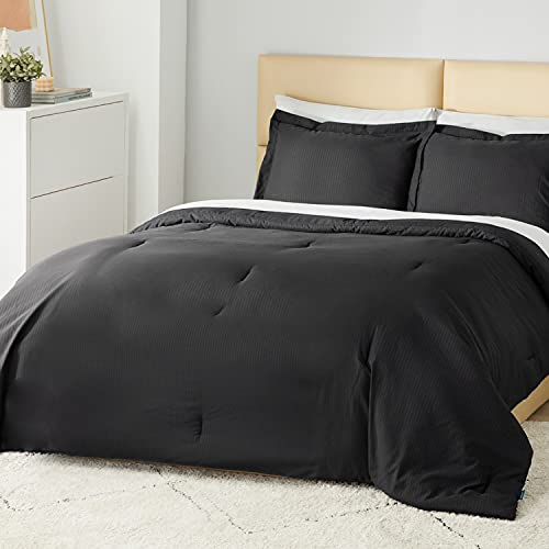 Bedsure Striped Comforter Set Twin Size Bed Black...