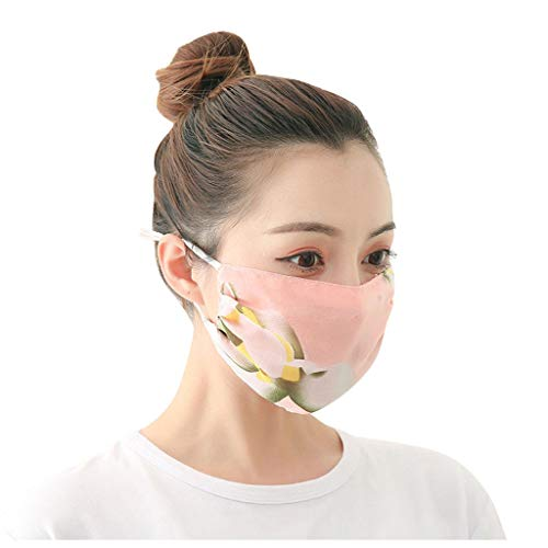 5pc Chiffon Face Covering Floral Print Washable Reusable for Adults, Breathable Face Mouth Protection with Ear Loops Windproof Dustproof Protective Seamless Bandana for Men Women (5pc Type-G)