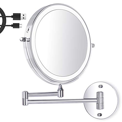 Amelar 8 Inch Wall Mounted Makeup Mirror USB Rechargeable LED 3 Color Lights Two Sided 1X/10X Magnifying Mirror Touch Switch Intelligent Shutdown 360° Swivel Vanity Mirror for Bathroom Hotel