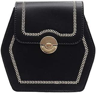 TOOGOO Crossbody Bags for Women Solid Color Leather Tote Chain Saddle Bag Shoulder Messenger Bag Black