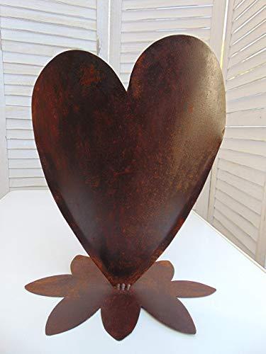 Edelrost Herz, befüllbar, mit Standfuß, Garten-Deko, Rost-Deko, Handarbeit, Höhe ca. 35 cm