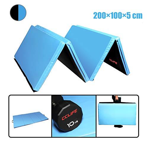 CCLIFE Turnmatte Weichbodenmatte Klappbar für zuhause Fitnessmatte Gymnastikmatte rutschfeste Sportmatte Spielmatte, Farbe:Hellblau & Schwarz