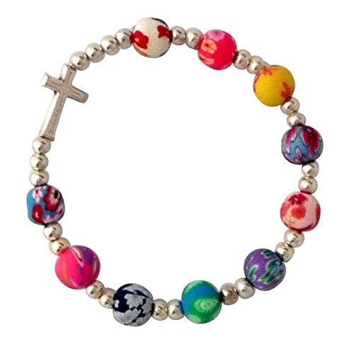 MaMeMi Armband, Kreuz, bunten Perlen, Gummizug, mit Heftchen