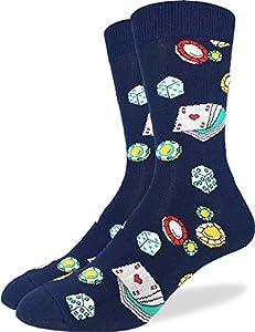 Good Luck Sock Men's Casino Socks - Blue, Adult Shoe Size 7-12 by