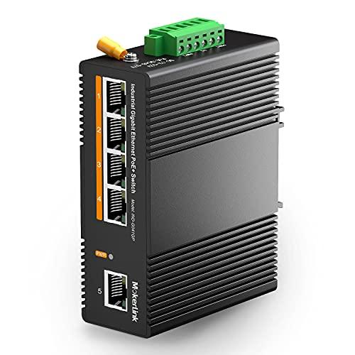 mokerlink 5 Puertos PoE Gigabit Switch Ethernet Industrial de riel DIN, Alimentación PoE+ de 60W, Capacidad de Conmutación de 14Gbps, No Administrado IP40 (-40 a 185 °F), con Fuente de Aliment