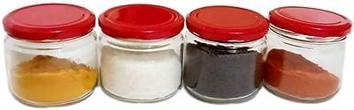 KA Enterprises 150 Gm Round Clear Spices, ghee, Pickles Glass jar Set of 12 Jar with Metal Red Color Lug Cap