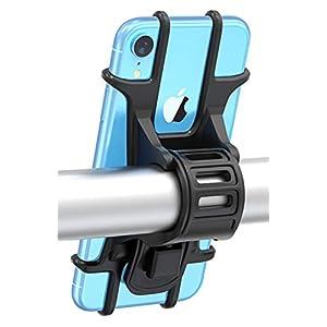 """Bovon Soporte Movil Bicicleta, Soporte Universal Manillar de Silicona para Bicicleta de montaña y Motocicleta, Soporte Movil Moto Compatible con iPhone 11 Pro/11/XR/X/XS, Samsung S9 y 4.5""""-6.5"""" Movil"""