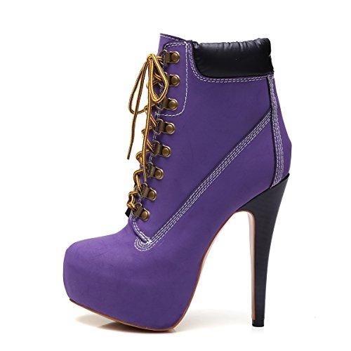 Onlymaker Damen Pumps Stiletto Stiefel High Heels Kurzschaft Stiefelette Boots Schuhe mit Plateau Lila EU45
