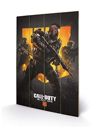 Call of Duty: Black Ops 4sw12329p impresión sobre Madera 40x 59cm Maciza, Multicolor, 40x 59x 1,2cm
