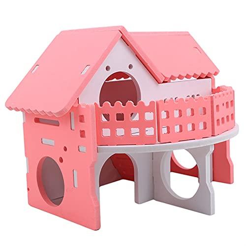 YYDMBH Rueda de Ejercicio Lindas Pequeñas jaulas de Animales Conejo Hamster House Casa Doble Doble Individual Monopatín Rueda Spinning Hamster Gerbil Mouse Pet Cause House (Color : 465279)