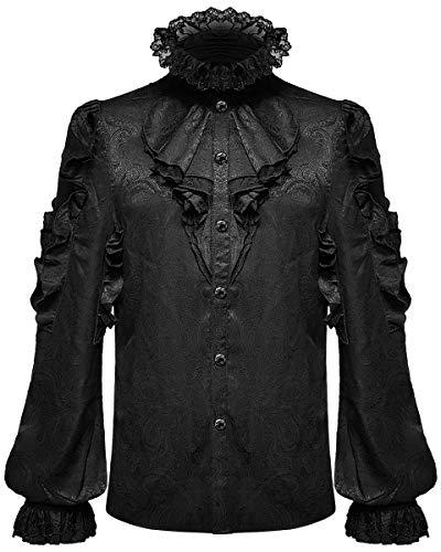 Devil Fashion Camisa gótica para hombre con diseño de cachemira, brocado steampunk, con volantes, cravat jabot, boda