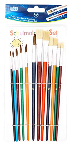 TSI 49111 Schulmalpinsel-Set 12-teilig, Haarpinsel 1,2,4,6,8,10 - Borstenpinsel 4,6,8,10,12,14, Schaft farbig lackiert