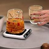uyhghjhb Chauffe-tasse intelligent avec arrêt automatique par induction par gravité, température réglable, USB avec interrupteur à écran tactile pour café, lait, thé et eau Blanc