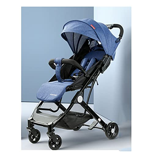 QIFFIY Sillas de Paseo Cochecito de Cochecito de 6 Meses, 5 años, Asiento Reversible para niños para bebés, Plegable con una Mano, cochecitos de Cuatro Ruedas. Cochecito (Color : Blue)