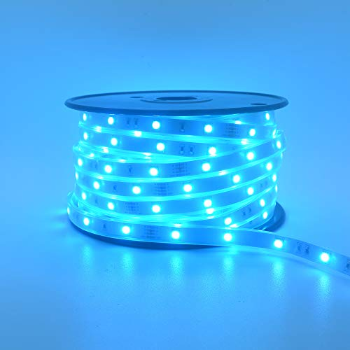 200Ft (2x100Ft) Long Run Waterproof IP67 24V RGB LED Strip Rope Light Music Sound SYNC Controller for Home Theater Backlight Crown Molding Accent Outdoor Roof Decks Railings Colors Lighting Decoration 6