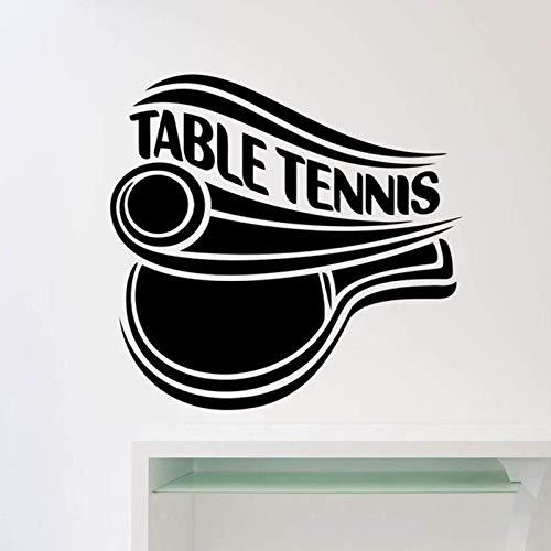 AGiuoo Tischtennis Logo Wandtattoo Sport Ping Pong Tür Fenster Vinyl Aufkleber Innendekoration für Teenager Schlafzimmer Stadion Wandbild 114x118cm