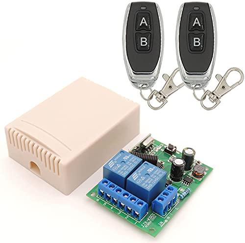 433 MHz RF Funkfernbedienungsschalter, 2 Kanäle, AC 110 V/220 V/230 V/240 V, Relais Empfänger mit 2 Fernbedienungen für Garagentor/Rollladen/Lichten/Pumpen