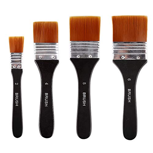 Vegena Flachpinsel, 4 Stück Acrylpinselset Ölfarben Bürste Flachpinsel Ölmalpinsel Pinsel-Set Flacher Künstler-Nylon-Pinsel Aquarell Acrylpinsel Malerpinsel für Malerei Ölmalerei(20/40/50/60 mm)