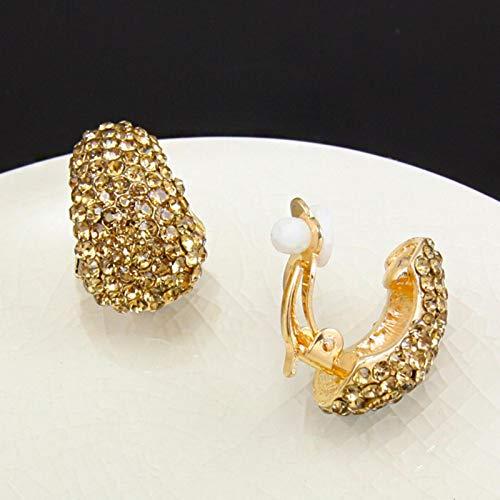 Elegantes Pendientes de Clip de Oro Plateado para Mujer sin Perforaciones, Clips de Oreja de Diamantes de imitación de Cristal Completo para Novias, Bodas, Regalo de joyería