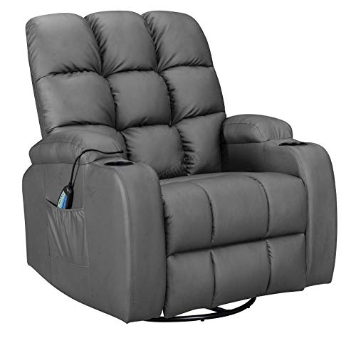 WestWood Massage Cinema Recliner Sofa Chair PU Faux Leather Armchair Swivel Rocking With Heating Function Cup Holder WW-MLS12 Grey