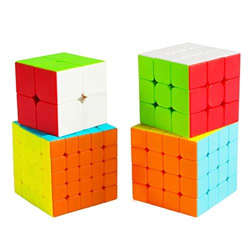 Cooja Cubos de Velocidad, 4 Piezas Speed Cube Set 2x2 + 3x3 + 4x4 + 5x5, Smooth Magic Cube Puzzle Durable Regalo de Juguetes para Niños Niñas