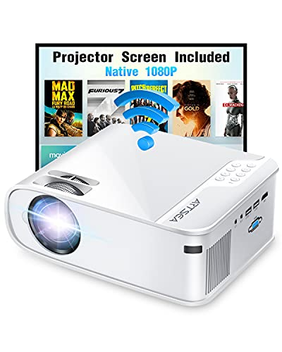 """Projector, ARTSEA 5G WiFi Projector W25 Native 1080P Projector 8500L HD Outdoor Video Projector 300"""", Synchronize Screen & 4K Movie Projector Compatible with Laptop/TV Stick/HDMI, for iPhone & Android"""