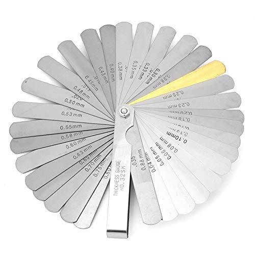 Calibrador de espesores, calibre de espesores de 32 cuchillas métrico 0,04-0,88 mm de espesor herramienta de medición de espacios de acero inoxidable