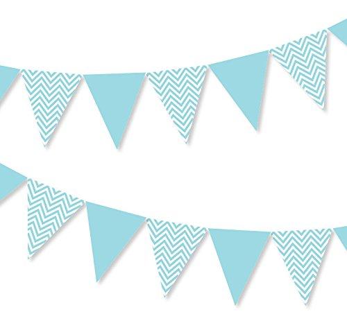 Vlaggenketting in blauw wit met chevron-patroon Zigzag-slinger