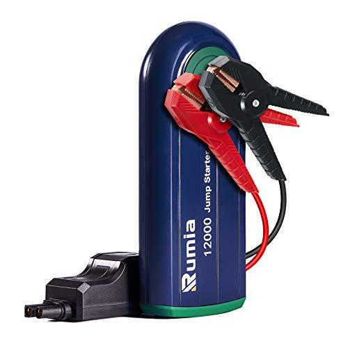Rumia Arrancador de Coches 1000A 12000mAh, Arrancador de Baterias de Coche para Gasolina de 6L o Diesel de 4L , 12v Arrancador Portátil, Booster Bateria con Carga Rápida QC3.0 y Type-C, Linterna LED