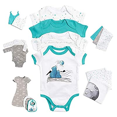 JumpOff Jo Layette Gift Set 17-Piece Newborn Baby Clothes, 0-3 Months - Blue Bears