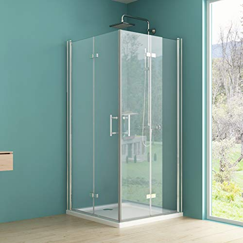 IMPTS Eckeinstieg Duschkabine 90x100cm, Falttür Duschabtrennung Doppelt Duschtür Dusche Duschwand klappbar tür Duschtrennwand aus 6mm ESG Klares glas mit Nano Beschichtung, Höhe 195cm, onhe Duschwanne