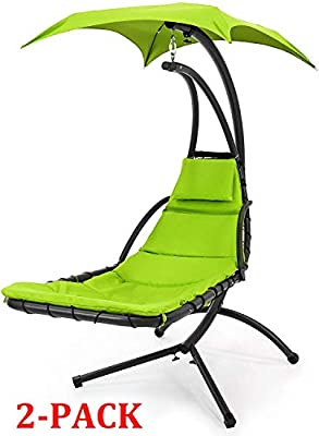 Best Choice Products Hanging Curved Chaise Lounge Chair Swing for Backyard, Patio w/Pillow, Canopy, Stand