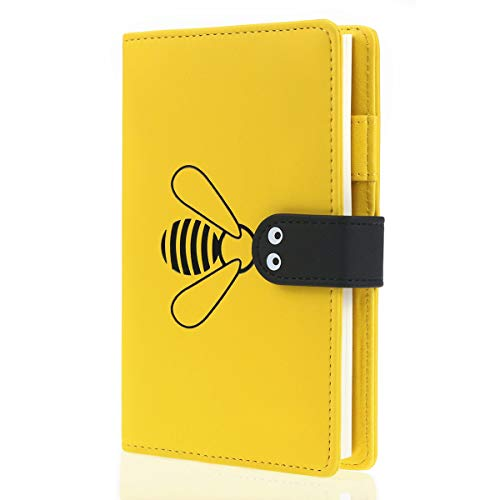 Mazeran Yellow Bee Design Journal, A6 Hand Book Durable Cute PU Leather Notebook Diary With Buckle Lined Pages, Gift for Teens, Girls, Women