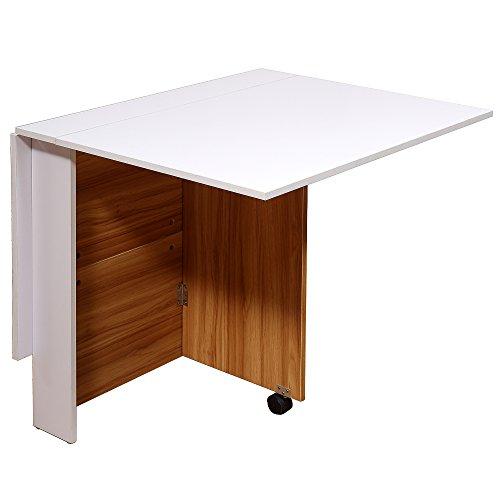 HOMCOM Drop Leaf Folding Dining Table Mobile Writing Desk Workstation Home Office Furniture w/Casters Space Saving Teak Colour & White