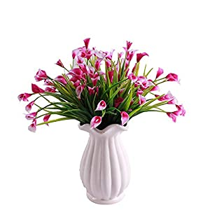 Silk Flower Arrangements KIRIFLY Artificial Flowers,Artificial Plants Outdoor 6 Packs Plastic Flowers Fake Calla Lily Faux Plant UV Resistant Greenery for Garden Home Decor (Rose)