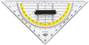 WEDO Geometrie-Dreieck aus Kunststoff mit abnehmbarem Griff Hypotenuse 16 cm Facetten, Kanten, Winkel und Maßskala sind farblich hinterlegt mit Tuschenoppen