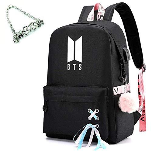 Kpop Bangtan Boys Rucksack Daypack Laptop Tasche College Tasche BTS Schultasche Bookbag mit USB Ladeanschluss