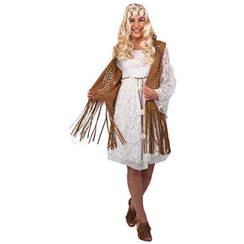 Amakando Stilechte Fransen-Weste 70er Jahre für Damen / Braun / Ärmellose Jacke für Festivals mit floralem Muster / Wie geschaffen zu Festival & Karneval