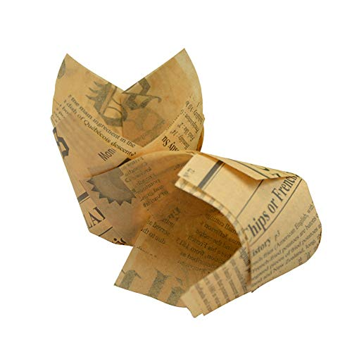 Lezed Cupcake Förmchen Backförmchen Zeitung Cupcake Wrappers Papier Kuchen Cup Cupcake Liner Backbecher Papier Papierförmchen in Tulpenform Muffin Baking Cup für Party Hochzeit Weihnachten, 50 Stück