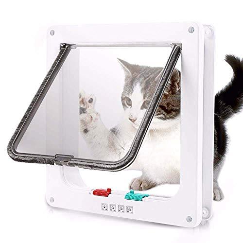 Jlxl Pet Door Dog, Window Gate White Flap Door, with 4 Ways Lock & Liner Kit, for Cat Puppy Doggie Best Fits for Screen Window, Sliding Glass Door Window (Color : White, Size : 25235.5CM)
